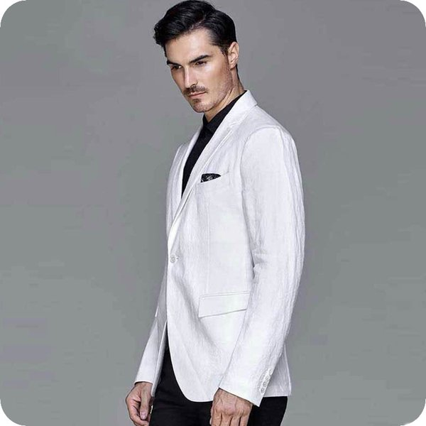 Latest Designs Linen White Men Suits for Wedding Suits Groom Wedding Tuxedos Best Man Blazer 2Piece Coat Pants Terno Masculino Costume Homme
