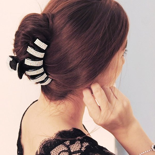 Extra Large Hair Claw Thick Long Hair Clips Big Hairpin Elegant Accessories for Women Styling Tool Black/Brown HC636