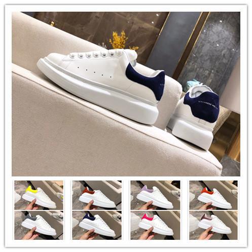 [Com Caixa] 2019 Designer de Marca Branca de Couro Preto Sapatos Casuais Das Mulheres Dos Homens Rosa Sapatilhas Planas Confortáveis
