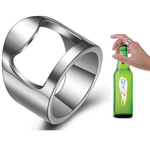 Abrebotellas de acero inoxidable de anillo, abrebotellas creativo de anillo de dedo de cerveza creativa multifuncional, venta directa al por mayor de los fabricantes