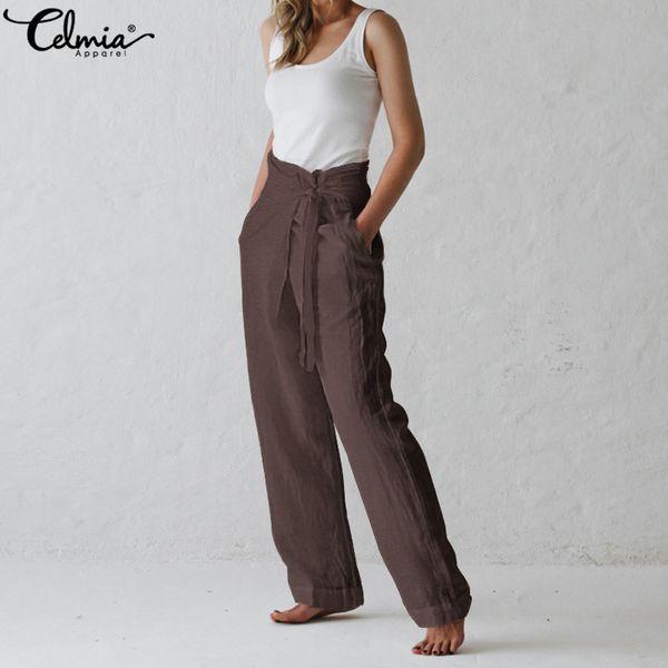 Celmia Mujeres Pantalones de Lino Retro Verano de Pierna Ancha Ocasional Harem Pantalones Bolsillos Pantalon Largo Más Tamaño Palazzo Q190508