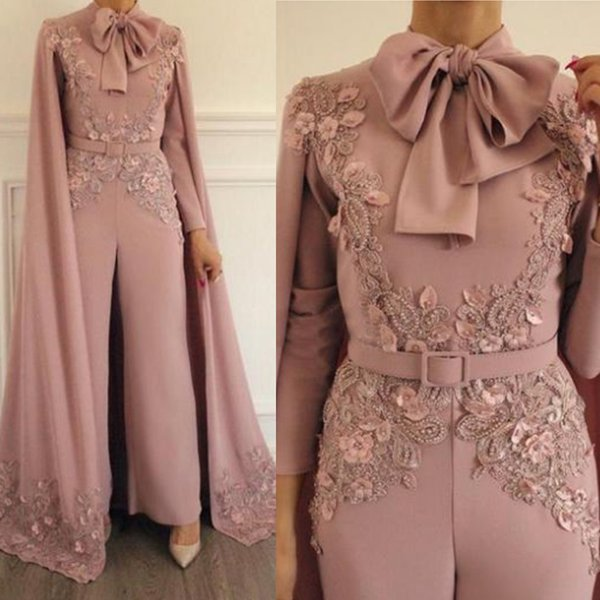 New Arrival Fashion Dusty Beaded Pink Evening Gown Gorgeous Lace Appliques Long Sleeve Jumpsuit Prom Dress With Wrap Bow