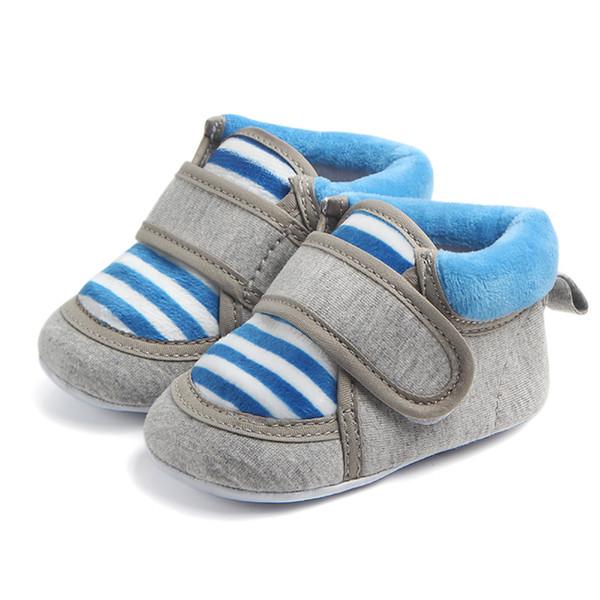 Baby Plush Soft Sole Shoes Crib Warm Snow Bootie Infants Kids Toddler Shoes Anti-skid Stripe prewalker (11cm,blue)