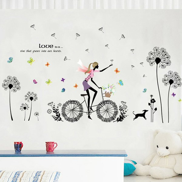 Cozy Dandelion Cycling Girl Butterfly Flowers Wall Stickers Home Decor Bedroom TV Sofa Wall Poster PVC DIY Art Mural Wallpaper