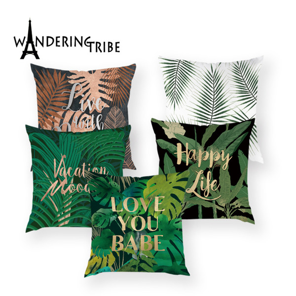 Tropical Print Throw Pillow Cover Leaf Decorative Cushions Plant Pillow Case for Sofa Happy Life Pattern Green Cushion Covers