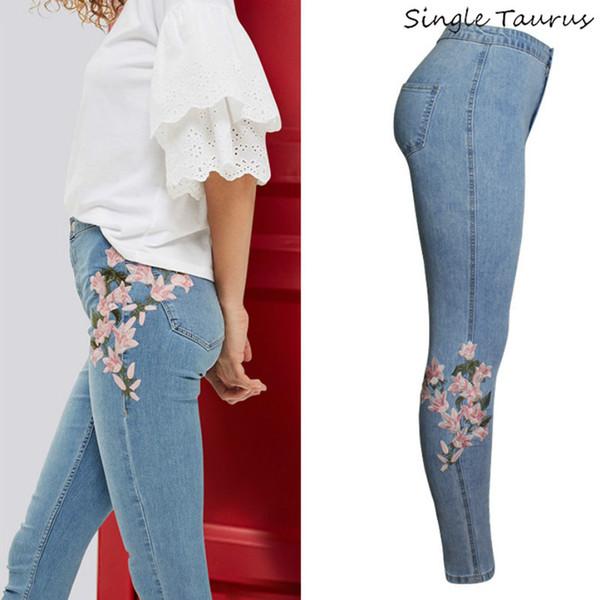 New Women/'s Embroidery Floral Slim Jeans High Waist Denim Pencil Long Pants CB