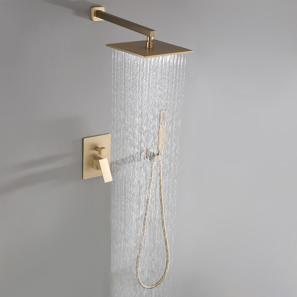 2019 Brushed Golden Solid Brass Bathroom Luxury Square Rainfall Mixer Shower Set Wall Mounted Rainfall Shower Head System New From Kavinxiaoyi