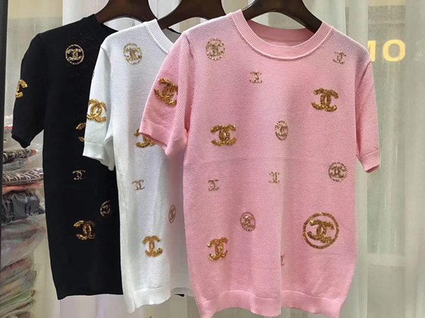 Lentejuelas sin mangas para mujer Suéter de punto de dos colores Suéter de punto regular Prendas de punto camiseta de manga corta
