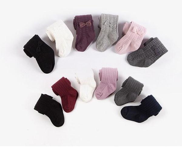Hot sell Baby kids pantyhose girls lace Bows dance stockings children love heart knitting leggings fashion children cotton bottoms R2274