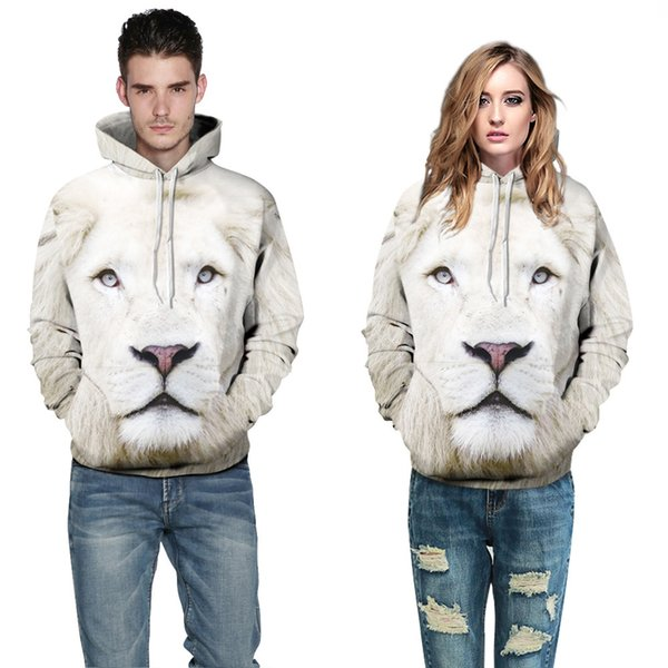 2019 3D Design Power Animal Printing Spring Fleece Sportswear Lover Cotton Material Casual Hoodies Lovers Clothing Free Shipping Wholesale