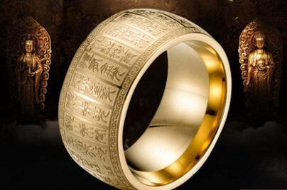 Buddha seal body gold light charm ring male and female wide titanium steel amulet ring fashion personality domineer ring gift 7--12