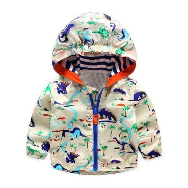 Outono Crianças Dinossauro Windbreaker Animal Bonito Jaqueta Impressa Meninos Outerwear Casacos Meninos Crianças Com Capuz Crianças Outfits