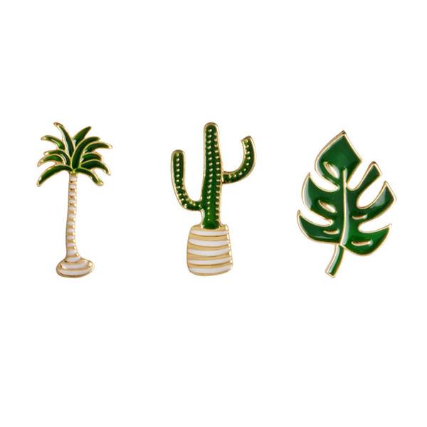 Lindo Emblema Cactus pin Planta Em Vaso Colarinho Sapato Lábios Esmalte Broche De Coco Cactus Folhas broches Decorativos Roupas Pinos Dos Desenhos Animados