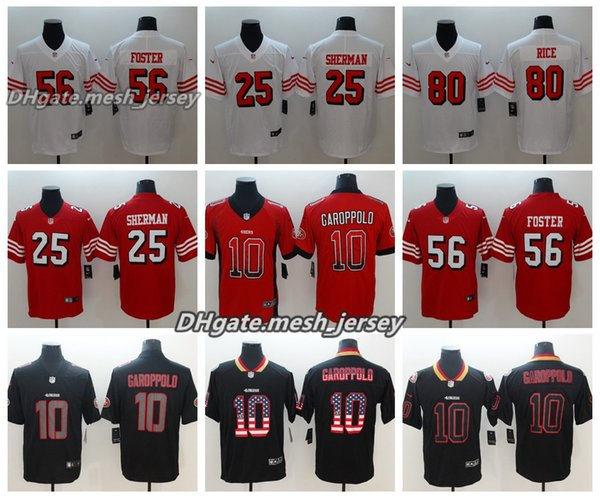 cheap for discount 330f4 dc961 2019 Men San Francisco Jersey 49ers 10 Jimmy Garoppolo 80 Jerry Rice 56  Reuben Foster 25 Richard Sherman Color Rush Football Jerseys From Top_07,  ...