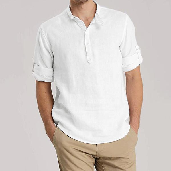 Sonbahar Kış erkek gömlek camisa Moda Gevşek erkekler gömlek uzun kollu Rahat Günlük Katı Renk Erkek Bluz Üst camisas hombre
