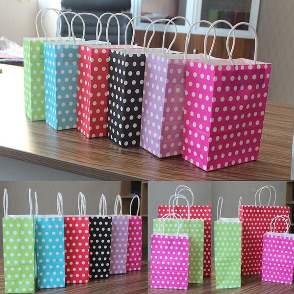 Großhandel 3 verschiedene Größen Polka Dot Kraftpapier Geschenktüte Festival Papiertüte mit Griffen Modische Schmuckbeutel Hochzeit Geburtstagsfeier