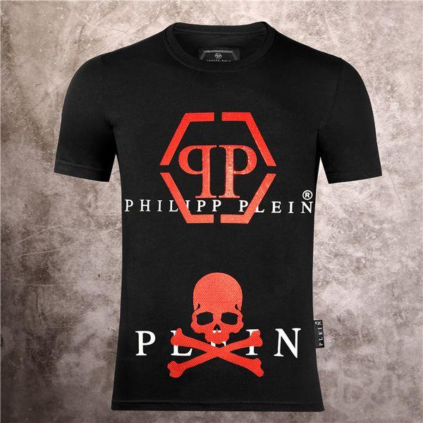 top popular Casual Brand Men's Letter PRINT PHILIP Plain T-Shirt Summer Men's Pullover T-Shirt Short Sleeve Cotton T-Shirt p101 2020