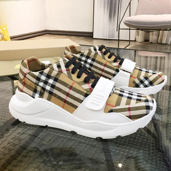 best selling Men Shoes Sneakers Luxury Top Quality Zapatos de hombre Vintage Check Cotton Sneakers BB495 Mens Shoes Casual with Box Chaussures pour homme