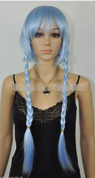 FREE SHIPPIN + + New Style Light Blue Straight short wig with long braids Cosplay women sexy Wigs