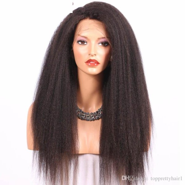 Italian Yaki Full Lace Wigs Human Hair For Black Women Gluless Front Lace Wig Kinky Straight Natural Hair Virgin Cheap Full Wigs