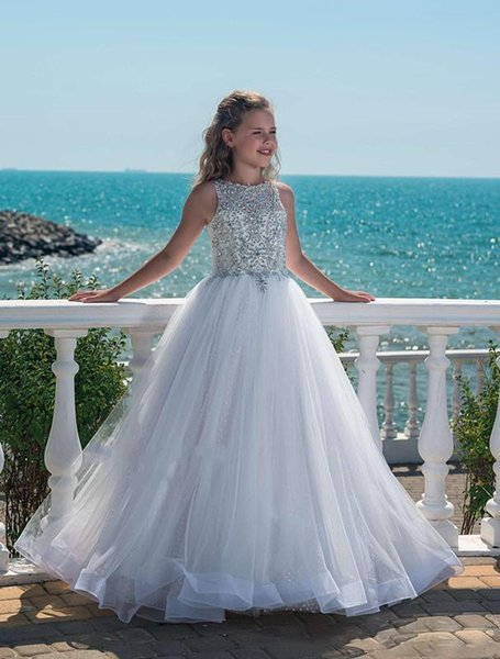 Bling Perlen Strass Jewel Neck ärmellose kleine Mädchen Festzug Kleider Tasten zurück lange Tüll Blumenmädchen Kleider für Hochzeiten