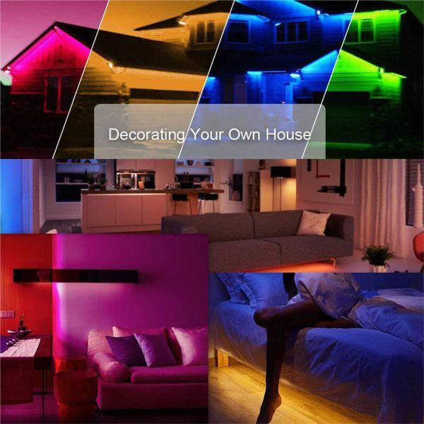 Las tiras de luces LED 300 son compatibles con el kit de tira de luz LED Wifi de Alexa con kit de bricolaje controlado por teléfono inteligente inalámbrico RGB multicolor 40W 32.8ft