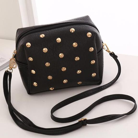 Fashion Lady Bags Pu Leather Zipper Rivets Design Woman Cross Body One Shoulder Messenger Bag Money Purse Girls Kyes Phone Bags
