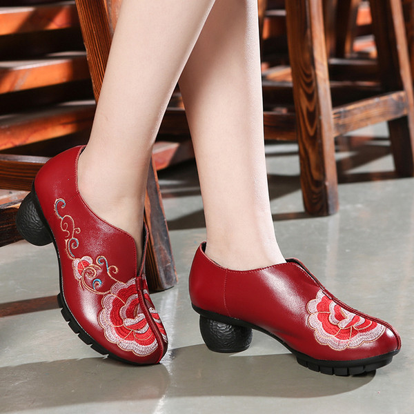1Concubines Beauty Nation Wind Ma'am Genuine Leather Embroidered Shallow Mouth Single Shoe In Rough Slope With Set Foot Women's Casual Shoes