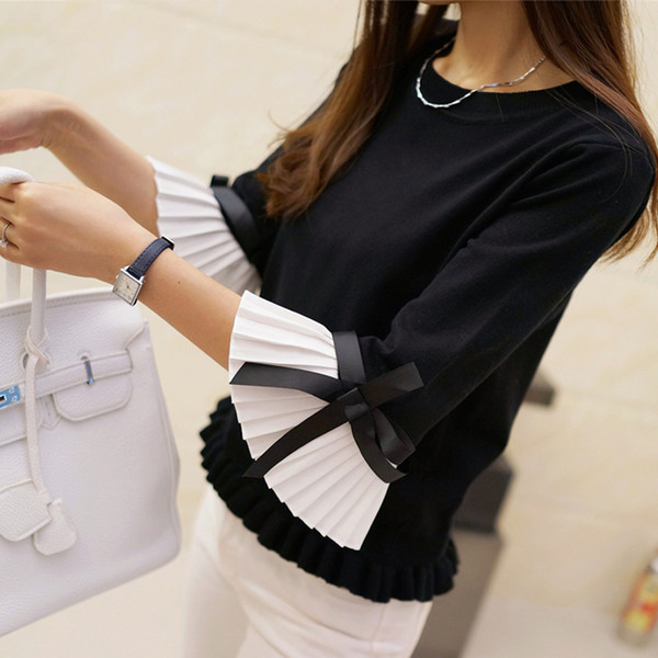 New 2019 Fashion Spring Autumn Women Sweater Chiffon Flare Sleeve Bow Pullover Slim Sweaters Women High Quality Tops