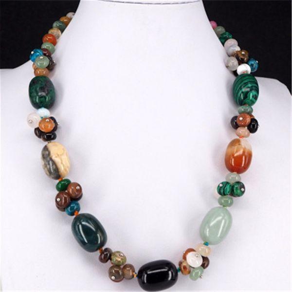 Druzy Natural Crystal Halbedelstein Halskette Frauen bunte Halskette Schmuck Runde Perlen String Energie
