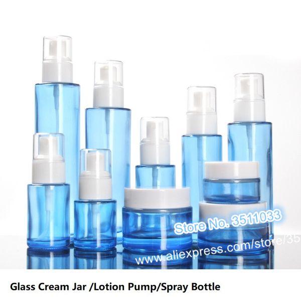 10 UNIDS 30 ml Cristal Azul Claro Cosmético Botella de Spray Líquido 20 ml Cosmético Vacío Loción Recargable Bomba Blanca Botella 20g Crema Tarro