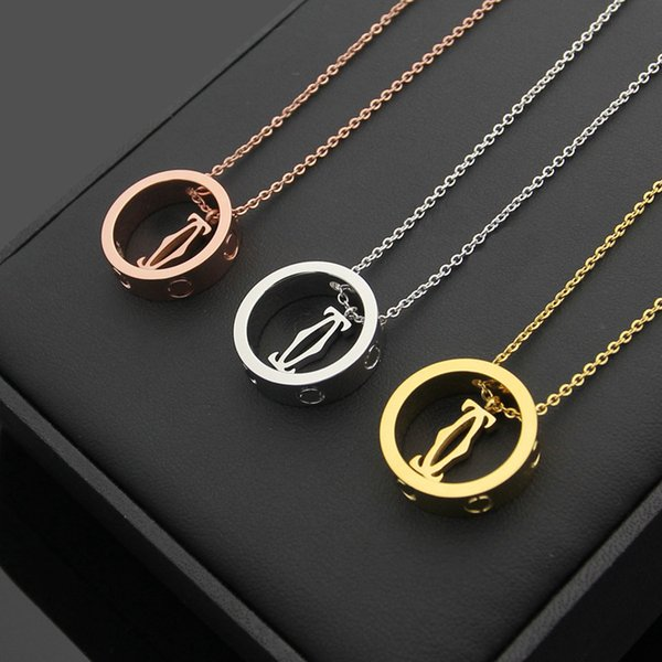Cla ic fa hion brand love pendant necklace for women titanium teel gold ilver man necklace jewelry whole ale collar lover gift with bag, Silver