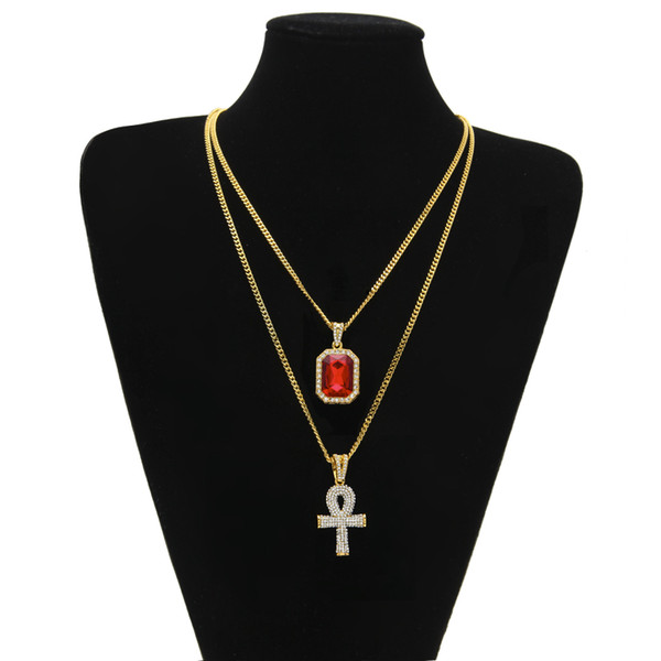Egyptian Ankh Key of Life Bling Rhinestone Cross Pendant With Red Ruby Pendant Necklace Set Men Jewelry 3734