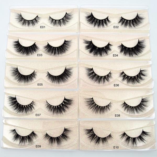 Visofree Eyelashes 3D Mink Lashes volume naturel fait main cils souples extension de cils longs cils de vison réels pour maquillage E01 D19011701