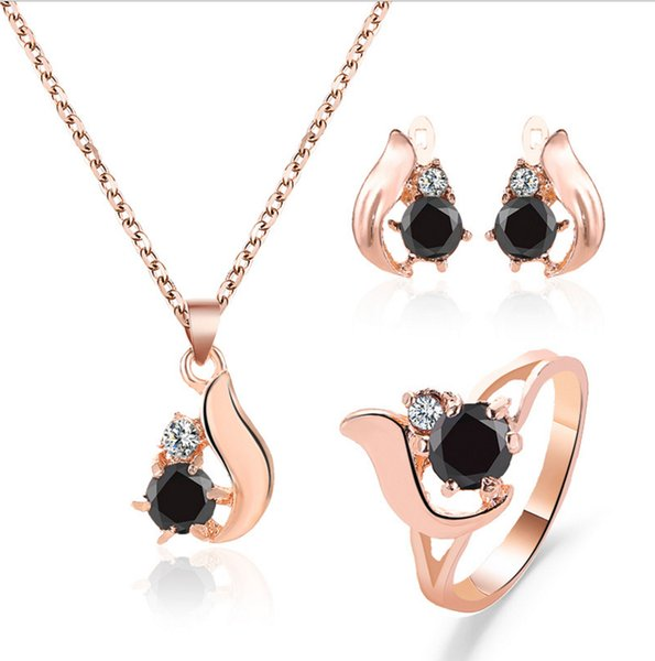 top popular Jewelry sets earring ring necklace wing shape crystal and black obsidian setting gold color plated metal chain 2020