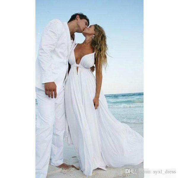 2019 Plus Size Tiefem V-Ausschnitt Brautkleider Günstige Brautkleider Abendkleider Spaghettiträger Backless Chiffon Pleats vestido de noiva