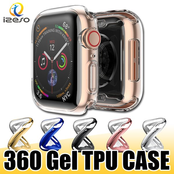 Luxury Electroplate TPU Watch Case for Apple Watch Series 4 3 2 Colorful Gel Soft 360 Degree Full Covered Watch Cover for iWatch