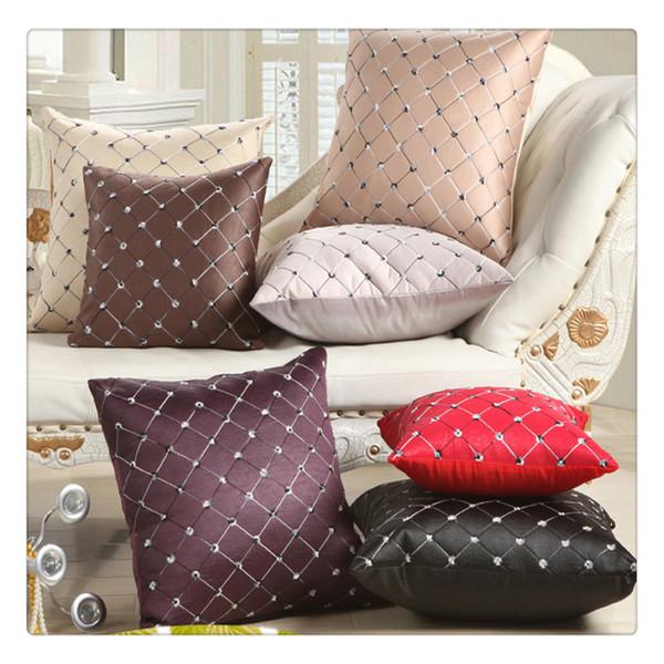 Home Divano letto Decor Plaid multicolore Fodera per cuscino Cuscino quadrato Fodera per cuscino Grigio argento 43 * 43 cm Vendita calda
