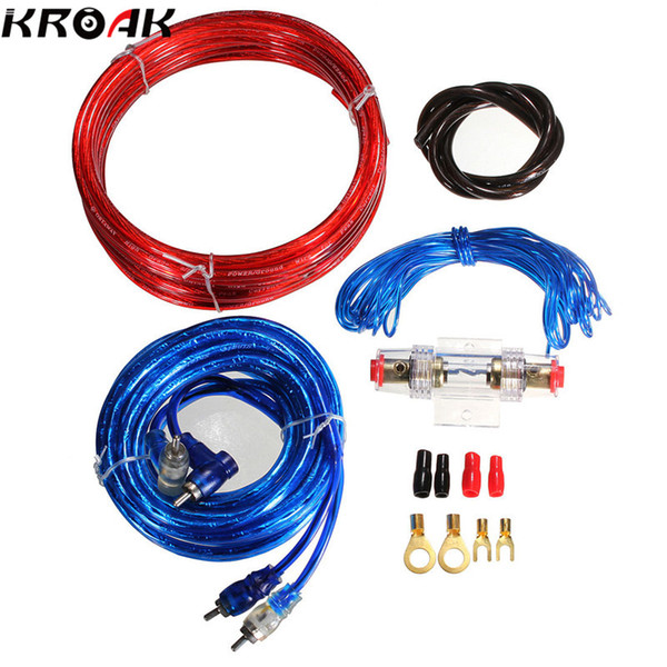 best selling Freeshipping 1500W Car Complete 10 Gauge Amp Power Subwoofer Amplifier Audio Wire Cable Speaker Sub Wiring with Fuse Holder