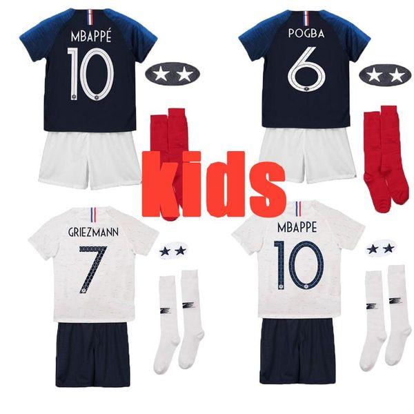 2 Estrelas MBAPPE GRIEZMANN Crianças Kit Casa longe Camisas De Futebol 2018 Copa Do Mundo POGBA GIROUD DEMBELE KANTE PAVARD Camisas de Futebol Criança Duas Estrelas