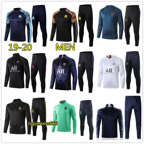 best selling 19 20 Men real madrid ajax soccer tracksuit 2019 2020 mbappe hazard football tracksuit survetement foot training suit jogging chandal futbol
