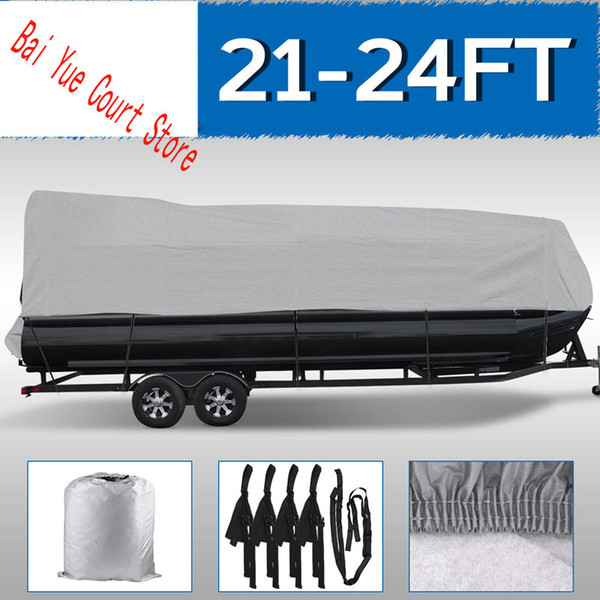 best selling 21 22 23 24FT Boat Cover Waterproof Trailerable Pontoon Heavy Duty Fabric Gray