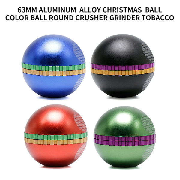 63mm Aluminium Alloy 4 Pieces Christmas Ball Color Ball Round Crusher Dry Herb Tobacco Grinder Crusher Grinders Free DHL