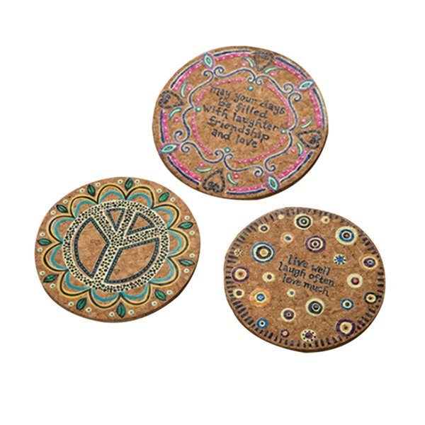 4Pcs Natural Cork Round Cup Mat Drink Coasters Heat Insulation Patterned Pot Holder Mats for Coffee Table Tabletop (Mixed) ZJ0001