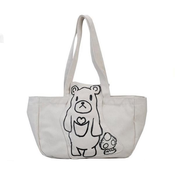 2018 Canvas Summer Women Handbags Girls Daily Casual Tote Bag Bear Printing Handbag Lady Large Shoulder Bags Shopping Handbag