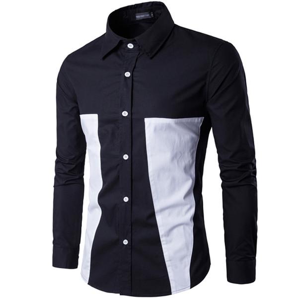 Marque 2019 Mode Homme Chemise À Manches Longues Tops Simple Splicing Casual Shirt Hommes Robe Chemises Slim Hommes Shirt Plus La Taille Xxxl