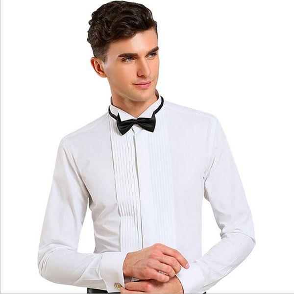 Высокое качество белые свадебные жених рубашки ласточка воротник платье с длинным рукавом чисто рубашка формальные выпускного вечера мужские рубашки (37--46)