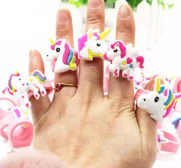 best selling Hot sale cute cartoon unicorn ring unicorn birthday party favors supplies kids baby finger ring toys kids Christmas Birthday gift DHL Free