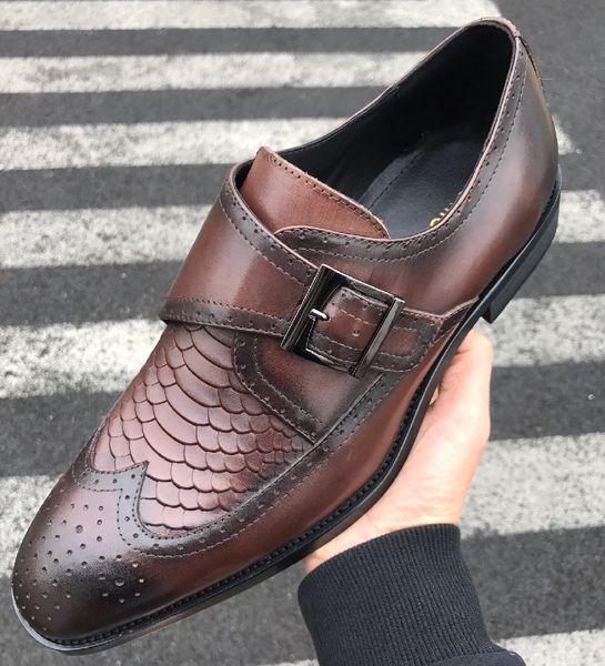 Luxury Brand men cow leather Formal suit shoe Lace-Up Office dress Wedding shoe Moccasins Italian Design Metal Buckle Horsebit Oxfords,38-45