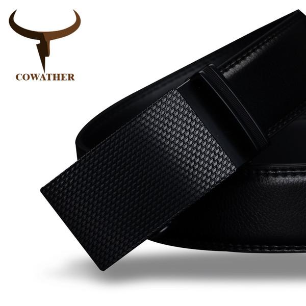 Cowather Gute Herren Gürtel Luxus Hohe Qualität Kuh Echtes Leder Gürtel Für Männer Automatische Schnalle Mode Taille Männlich Kostenloser Versand Y19051803